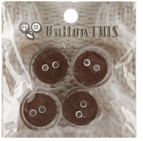 ButtonTHIS Solid Color Buttons 1in Brown 4/Pkg