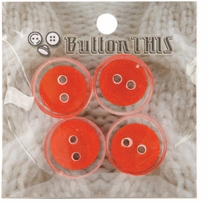 ButtonTHIS Solid Color Buttons 1in Blood Orange 4/Pkg