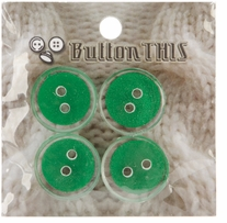 ButtonTHIS Solid Color Buttons 1in Green 4/Pkg