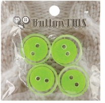 ButtonTHIS Solid Color Buttons 1in Lime 4/Pkg