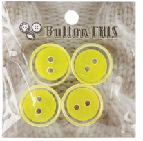 ButtonTHIS Solid Color Buttons 1in Yellow 4/Pkg