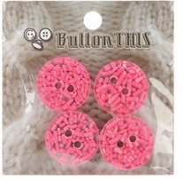 ButtonTHIS Sprinkle Buttons 1in Blue Sprinkle Dot 4/Pkg