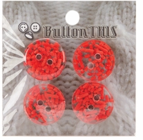 ButtonTHIS Sprinkle Buttons 1in Red Sprinkle Dot 4/Pkg