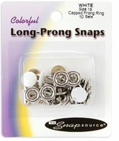 Capped Long Prong Snaps Size 16 White