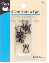 Coat Hook and Eyes Black
