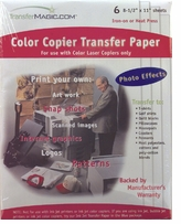 Color Copy Photo Transfer Paper Six Sheets