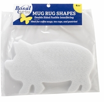 Craf-Tex Mug Rug Shapes Pig 7.5inX4.5in 4/Pkg