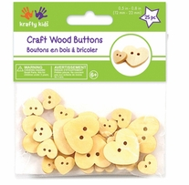 Craft Shaped Natural Buttons Hearts