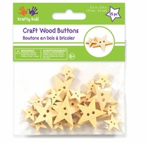 Craft Shaped Natural Buttons Stars