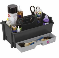 Crafter's Caddy with Pull-Out Drawer Sparkle Gray Silver