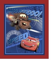 Disney Cars Speed Racing Panel 43/44in Wide 100% Cotton D/R 15yds