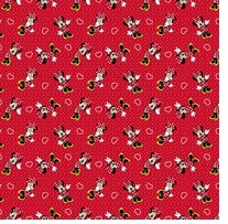 Disney Minnie With Hearts & Polka Dots 43/44inX15yds 100% Cotton D/R