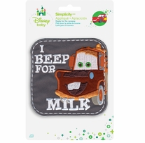 Disney's Cars I Beep for Milk Iron On Applique