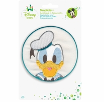 Disney's Donald Duck in Blue Circle Iron On Applique