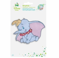 Disney's Dumbo, Smiling Dumbo Iron On Applique 4.25in x 3.5in