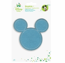 Disney's Mickey Mouse Silhouette in Blue Iron On Applique