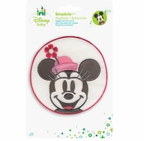 Disney's Minnie Mouse in Pink Circle Iron On Applique
