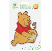 Disney's Winnie the Pooh, with Honey Pot & Bee Iron On Applique