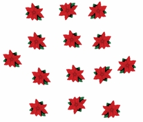 Dress It Up Holiday Embellishments Mini Red Poinsettias