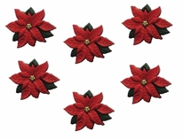 Dress It Up Holiday Embellishments Red Poinsettias