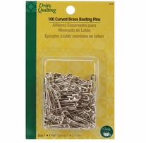 Dritz Quilting Brass Curved Basting Pins Size 1