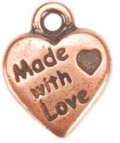 Embellishment Charms Copper Made With Love Heart