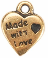 Embellishment Charms Gold Made With Love Heart