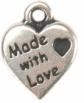 Embellishment Charms Silver Made With Love Heart