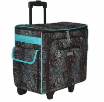 Everything Mary Quilted Rolling Sewing Tote Turquoise and Chocolate
