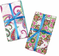 Fabric Bundle Assortment Punch of Paisley  5 pieces