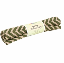 Fabric Palette Printed Burlap Zigzag Green