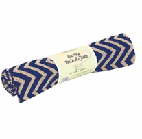 Fabric Palette Printed Burlap Zigzag Navy