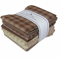 Fat Quarter Bundles Brown, Natural Homespun