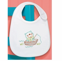 Fishing Bear Bib Embroidery Kit 7.5 x 9in 1/Pkg