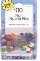 Flat Flower Pins Multi Colors 100/Pkg