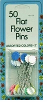 Flat Flower Pins Multi Colors 50/Pkg