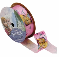 Frozen Ribbon Anna, Elsa & Flowers 7/8inX9ft