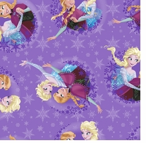 Frozen Sisters Ice Skating Snowflake Badge 59/60inX10yds 100% Polyester D/R
