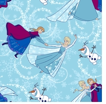 Frozen Sisters Ice Skating Toss 44inX15yds 100% Cotton D/R