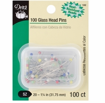 Glass Head Pins 100/pkg