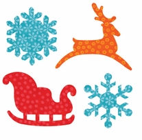 GO! Fabric Cutting Dies Sleigh and Snowflakes