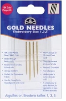 Gold Embroidery Hand Needles Sizes 1, 3 and 5