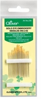Gold Eye Embroidery Needles Size 3/9