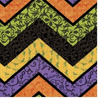Halloween Chevron 43/44in Wide 100% Cotton D/R Multi