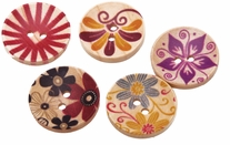 Hand Painted Wooden Buttons BE1001