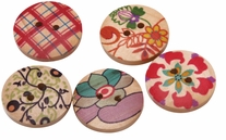 Hand Painted Wooden Buttons BE1004