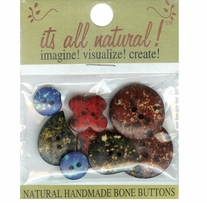 Handmade Bone Buttons Marbleized Stone Look