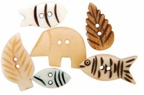 Handmade Bone Buttons Outdoor Designs Tan,Brown,White,Black