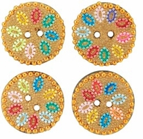 Handmade Glass Cavier Buttons Circles Gold, Colorful