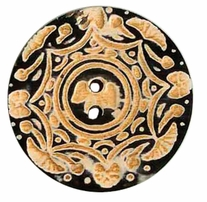 Handmade Horn Button 2in Carved Two Tone Button